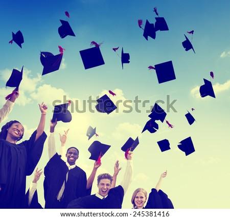 Students Graduation Success Achievement Celebration Happiness Concept - stock photo