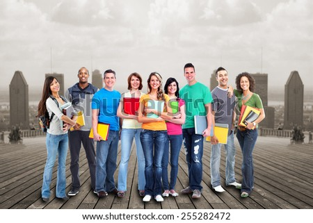Students group over urban background. Education concept. - stock photo