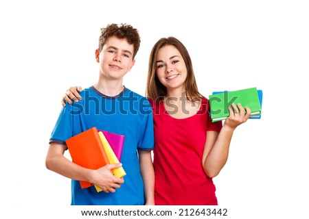 Students holding books isolated on white background  - stock photo