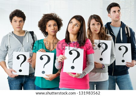 Students Holding Question Marks, What Kind of Future Could Have?