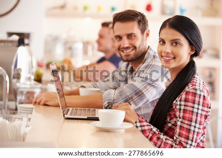 Students in a cafe - stock photo