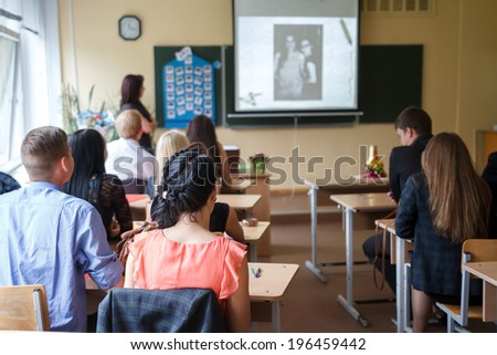 Students in class  - stock photo