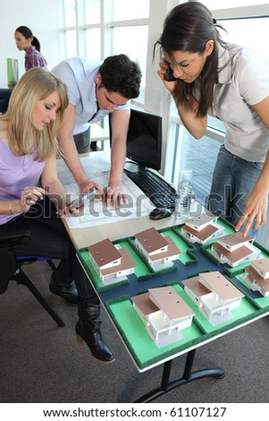 Students in School of Architecture - stock photo