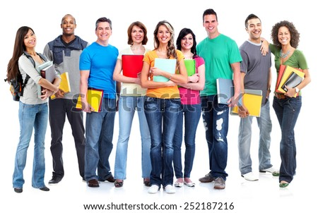 Students lagre group over white background. Education.
