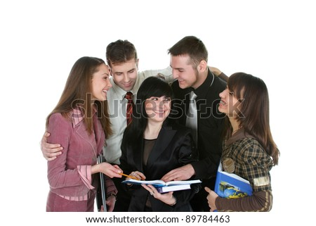 students learn the course material on a notebook - stock photo