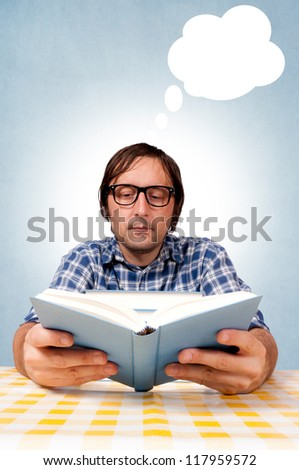 Students read books and prepare for the exam. selective focus on the man head. - stock photo