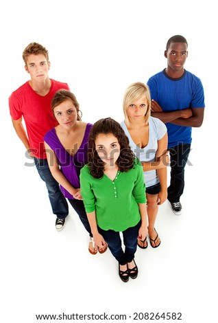 Students: Serious Group Of High School Friends On White Background