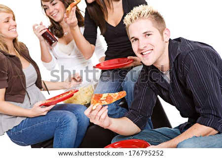 Students: Smiling Guy Hungry for Pizza - stock photo