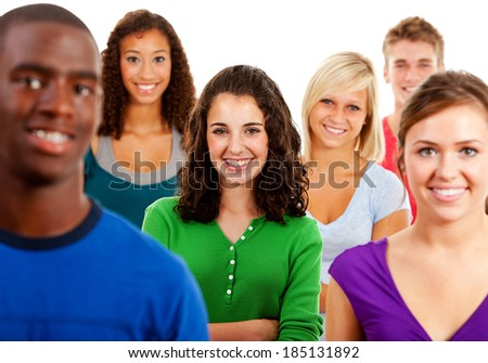Students: Smiling Multi-Ethnic Group Of Teenagers