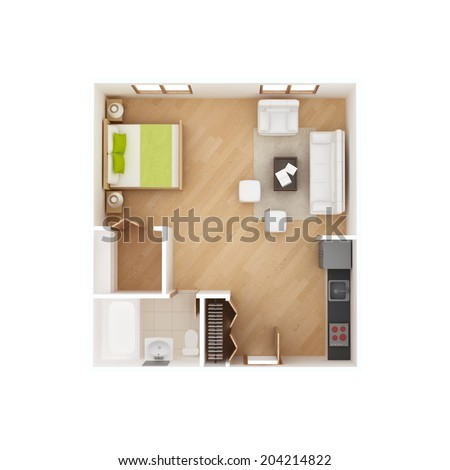 Studio Apartment Floor Plan Top View Stock Illustration 204214822