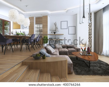Studio apartment living dining-room contemporary style. Large sofa with designer coffee low table and decoration on the shelves. Dining in an elevated podium. 3D render.