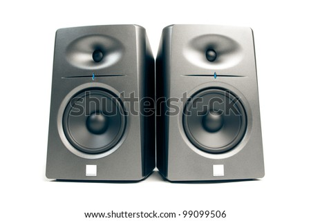 studio audio monitors - high-end sound speakers, isolated on white - stock photo