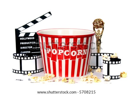 Studio Background of Film Related Items - stock photo