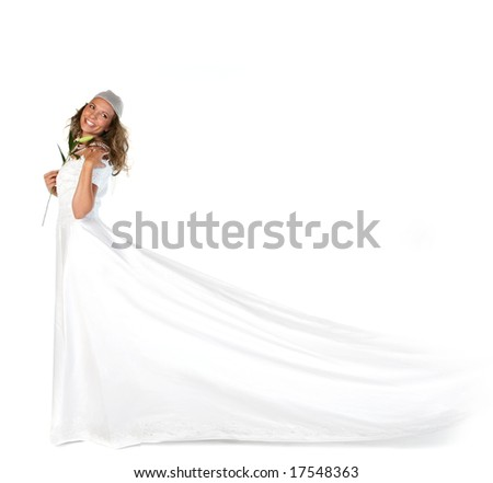 Studio Bridal Portrait of a Beautiful Woman With Copyspace - stock photo