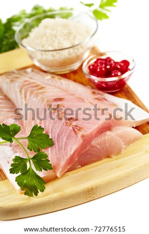 Studio closeup of fresh raw zander fillets - stock photo