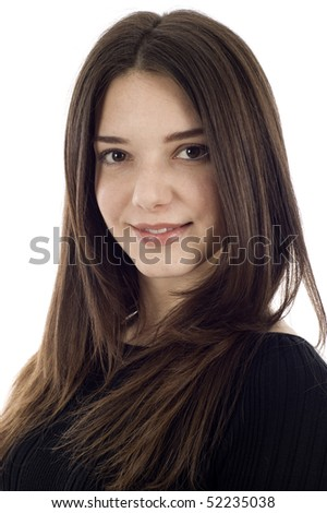 Studio closeup portrait of a beautiful woman isolated over  white background