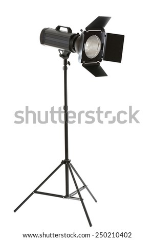Studio flash with barn door isolated on white - stock photo