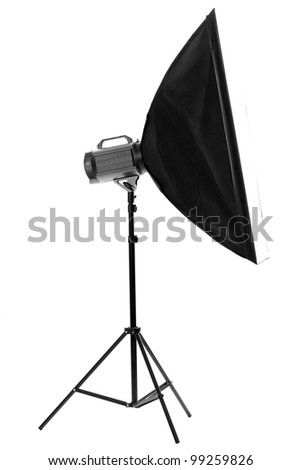 Studio flash with soft-box on white background - stock photo