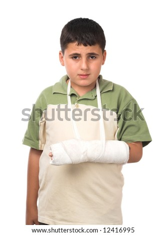 studio isolated image of a boy wearing  plaster - stock photo