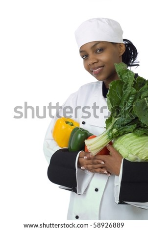 Studio isolated woman female chef with green spinach, cabbage, red and yellow peppers on white - stock photo
