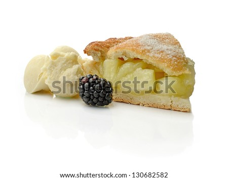 Studio macro of fresh apple pie, vanilla ice cream and seasonal fruit with soft shadows on a white surface. Copy space. - stock photo