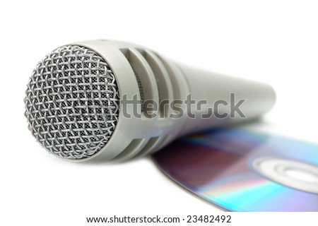studio microphone isolated on white - stock photo