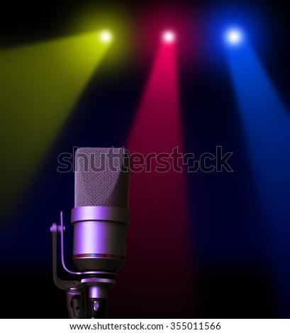 studio microphone on stage - stock photo
