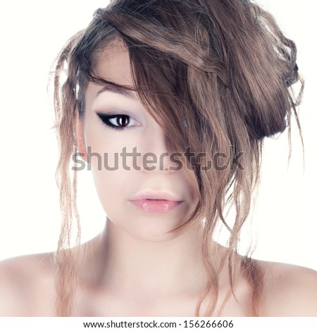 Studio photo of a girl with matted hair. - stock photo