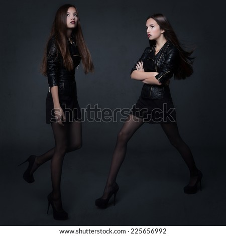Studio photo of a young woman in a glamorous style grunge. - stock photo