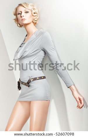 Studio photo of an attractive blond beauty - stock photo