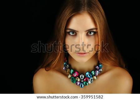 Studio photo of beautiful lady wear elegant necklace - stock photo