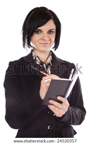 studio photo of beauty girl with note book