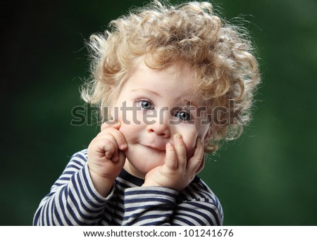 studio photography beautiful little children - stock photo