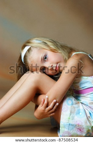 studio photography beautiful little girls - stock photo