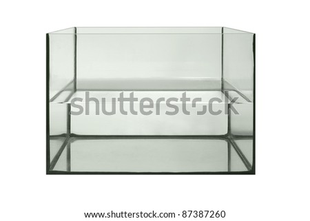 studio photography of a aquarium half filled with water, isolated on white - stock photo