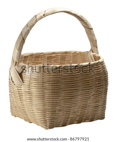 studio photography of a brown wicker basket isolated on white with clipping path - stock photo
