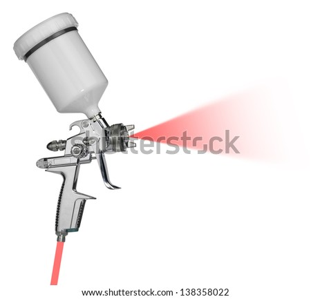 studio photography of a clean reflective paint gun with simulated spray in white back - stock photo