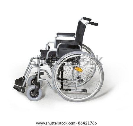 studio photography of a empty wheelchair in white back with shadow - stock photo