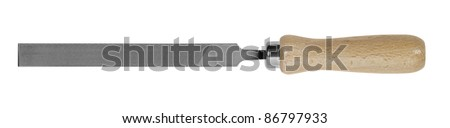 studio photography of a file with wooden handle in white back - stock photo