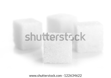 Studio photography of a lump sugar isolated on white background - stock photo