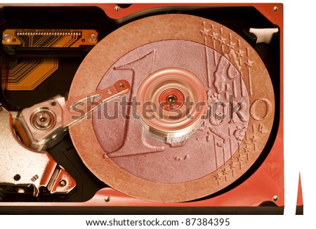 studio photography of a open hard disk at work, brown toned - stock photo
