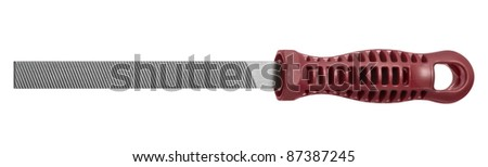 studio photography of a rasper with red handle in white back - stock photo