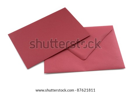 Studio photography of a red letter and envelope isolated on white - stock photo