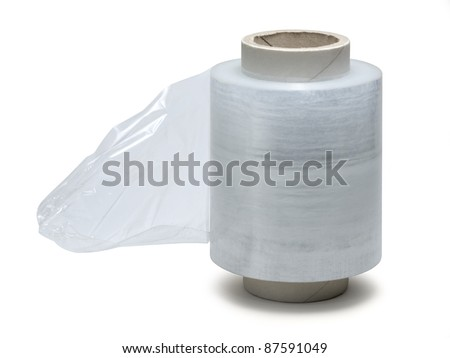 studio photography of a roll of stretch film isolated on white with clipping path - stock photo