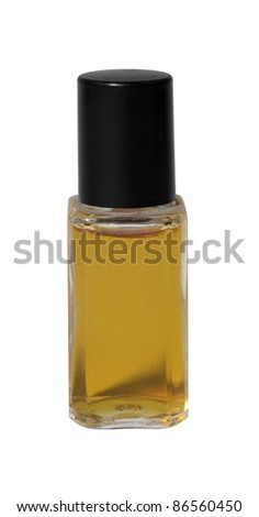studio photography of a small perfume bottle filled with orange fluid, isolated on white with clipping path - stock photo