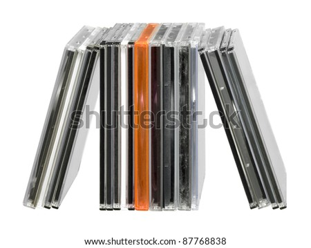 studio photography of some CD jewel cases in white back - stock photo