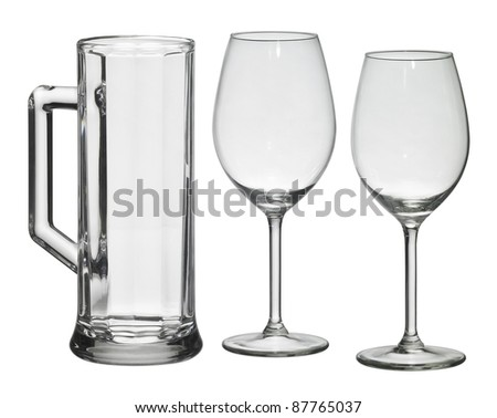 studio photography of some drinking glasses isolated on white with clipping path - stock photo