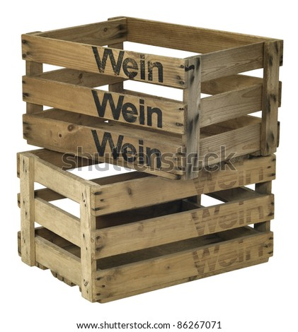 Studio photography of two wooden wine crates on each other isolated on white with clipping path - stock photo