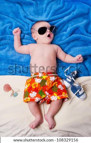 studio photos of newborn child for summer scenery - stock photo