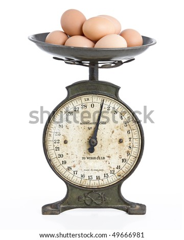studio picture of a metal scales holding eggs - stock photo